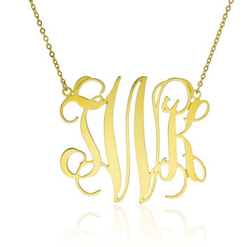 Personalized Monogram Necklace | Monogram Necklace | 2.0 inch monogrammed gifts 14K gold filled