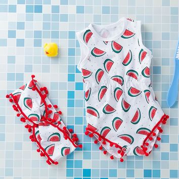 Red Ball Watermelon Romper 2 pc Set