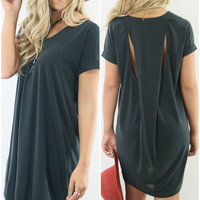 Leona Valley Charcoal Micro Suede Shirt Dress With Back Cutouts