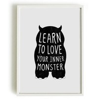 A4 Cute Monster Print Birthday Gift Kids Bedroom   Learn To Love Your Inner Monster