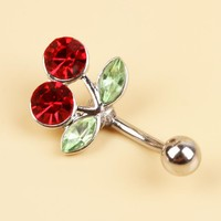 Surgical Steel Red Cherry Rhinestones Inlaid Belly Button Navel Ring Charming Piercing Body Jewelry