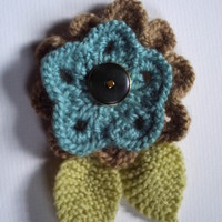 Flower corsage brooch. Hand knitted. OOAK! Blue green and fawn.