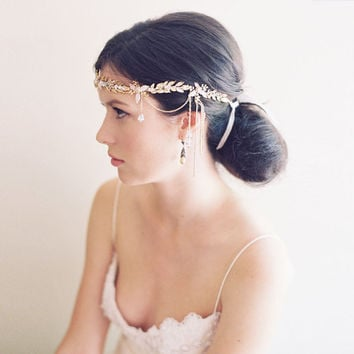 Wedding hair accessory, crystal boho 1920s headband, bridal crown - Alexandria no. 2030