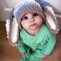baby Infant rabbit big ear Newborn Handmade Crochet Knit Cap Hat Costume Photograph Prop outfits Baby Caps Hats 0-12months (Size: 0-6m)
