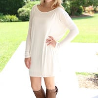 Piko Tunic Dress - Ivory - Hazel & Olive