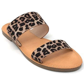 Soda Allie Oatmeal Cheetah Fashion Sandal