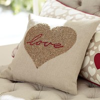 Love Beaded Pillow