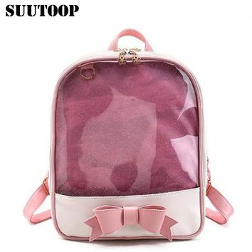 suutoop cute clear transparent bow backpack bag harajuku school bags for teenage girls candy pu leather backpacks