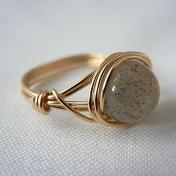 14kt Gold-Filled Wire Wrapped Labradorite Ring