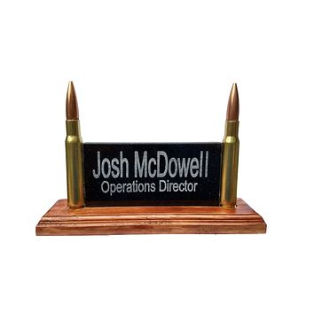 Ultimate Office Desk Name Plate Or Mancave Sign | Personalized Engraved Granite Plaque With Real 50 Cal Bullets | Made In The USA