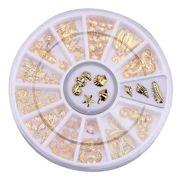 12 Grid Nail Art Ocean Animal Metal 3D Studs Bead Set Gel Polish Tips Sea Starfish Shells Hippocampal Slice Flakes Sticker Decal