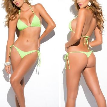 Solid Green Classic Thong Bikini Women's Swimsuits Summer Beach String Bikinis Sexy Female Bathing Suit Solid Swimwear 1667