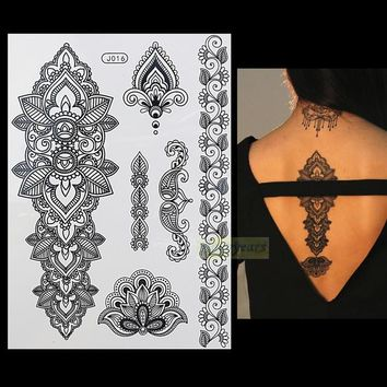 1PC Fashion Flash Waterproof  Tattoo Women Black Henna Jewel Sexy Lace BJ016 Flower Totem Arm Body Art Temporary Tattoo Sticker