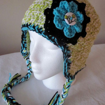 Adult Crocheted Flower Earflap Hat with Ties by SarahsFabCreations