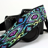Ikat Tribal dSLR Camera Strap, Batik, Southwestern, Tribal, SLR