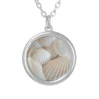 Sunny White Seashells, Summer Beach Exotic Round Pendant Necklace