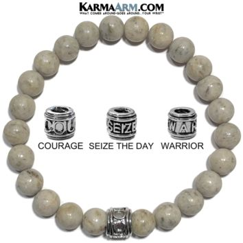 Mantra Motivation Bracelet | Grey Feldspar | COURAGE | SEIZE THE DAY | WARRIOR Jewelry