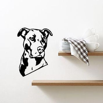 Wall Vinyl Sticker Decal Pitbull Dog Animal Pet Personal Guard Decor Unique Gift (M384)