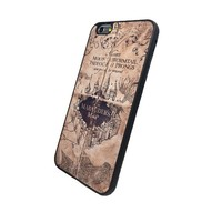 Harry Potter inspired Iphone 6 Plus (5.5-Inch) Marauder's Map Black Flexible Soft TPU Case Slim Case for iPhone 6+ (5.5)
