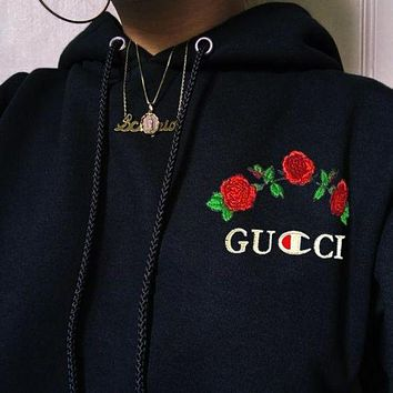 GUCCI Champion Fashion Casual Trending Flower Rose Embroidery Hooded Pullover Tops Sweater Sweatshirts Hoodie Black G