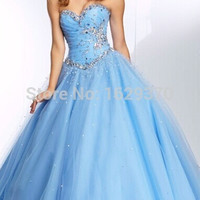 Cheap Quinceanera Dresses Beading Sweetheart Neck Sleeveless A Line Lace up Floor Length Organza in Stock Dress
