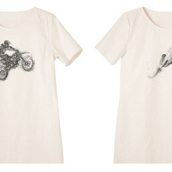 Women Motorcycle Riders Printed Linen Vintage Mini Shift Dress WDS_06