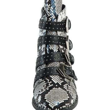 Snakeskin Pointed Contrast Buckle Strap Studs Detail Ankle Boots