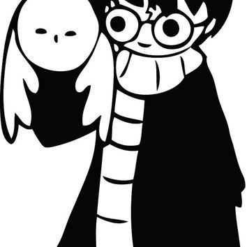 Cute Hand Drawn Harry Potter with Hedwig Decal Sticker