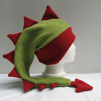 Dragon Hat - Sage Green and Red Fleece Dinosaur Ear Flap Hat by Ningen Headwear