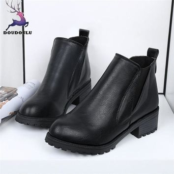 New Women Shoes Winter Ankle Boots Low Heels Fashion Boots Autumn Winter Boots Shoes Woman botas ug australia mujer 35-39
