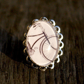Vintage bicycle silver plated ring