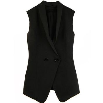 fashion double-breasted suit collar chiffon vest  ladies sleeveless vests