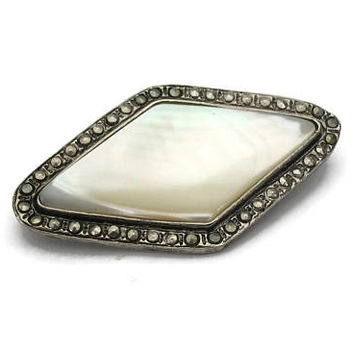 Vintage Mother of Pearl Marcasite Brooch - Diamond Shaped Art Deco Style Pin - Silver Tone & Shell Inlay