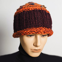 Men's burgundy hat - Ready to ship - Chunky knit hat - Orange trim crochet toque - Marsala hat - Teen boy hat - Valentine hat