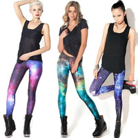 Free Shipping Plus Size Black Milk Galaxy Printed 3D Digital Leggings Fitness Legging for Women pants Muscle Skull Sexy Leggings New fashion