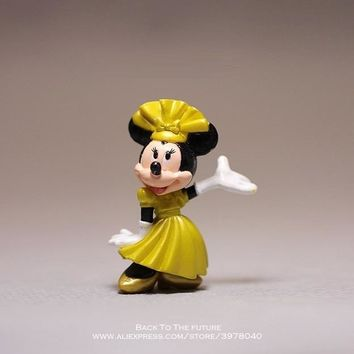 Disney Mickey Mouse Minnie 5.5cm Cute Rare Vintage Waiter Style PVC Figure Toy DIY Cake Decoration Ornaments Model for children