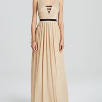 ABS by Allen Schwartz Gown - Sleeveless V-Neck Pleated Metallic | Bloomingdales's