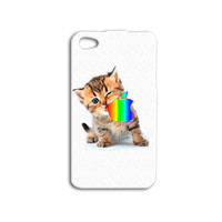Cat Eating Apple Logo Cute Adorable One of a Kind Kitty Custom Kitten Case Cover iPhone 4 iPhone 4s iPhone 5 iPhone 5s Apple Case