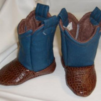 Baby Cowboy Boots Blue & Med Brown Leather by twofab on Etsy