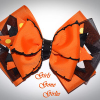 Halloween hair bow , orange and black hairbow , Halloween boutique bow , Halloween baby , toddler Halloween , girl Halloween hair bow
