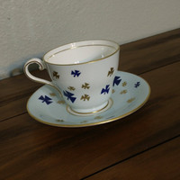 Aynsley Geometric shamrock patterned blue teacup, gold and blue symbols, aynsley teacup, english tea set