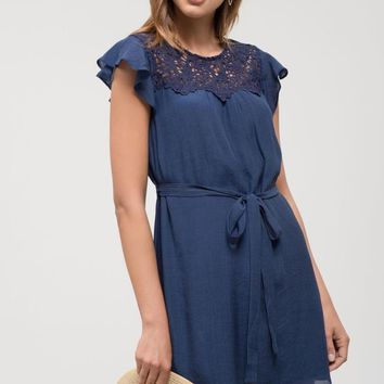 Navy Crochet Neckline Flutter Sleeve Dress