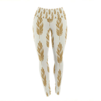 "Amanda Lane ""Feathers Yellow Cream"" Mustard Pattern Yoga Leggings"