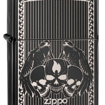 ZIPPO Winged Skulls Lighter, Ebony