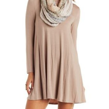 Taupe Long Sleeve Trapeze T-Shirt Dress by Charlotte Russe