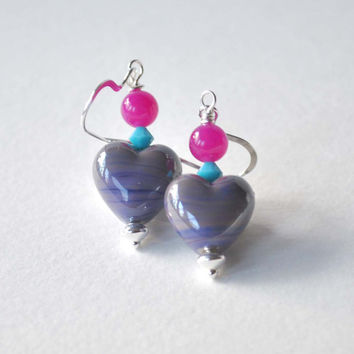 Shiny Purple Heart Earrings, Lampwork Glass Earrings, Glass Bead Earrings