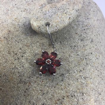 Vintage Handmade 925 Sterling Silver Bohemian Garnet Flower Drop Earrings