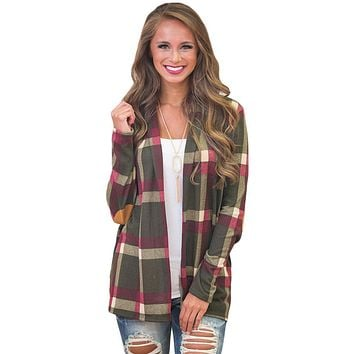 Chicloth Olive Suede Elbow Patch Long Sleeve Plaid Cardigan