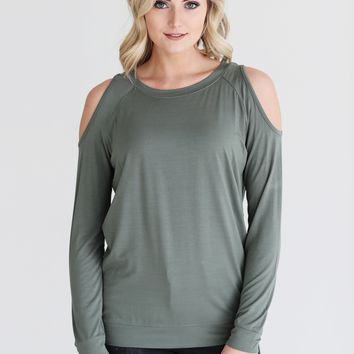 Light Olive DLMN Long Sleeve Cold Shoulder Top