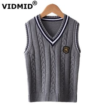 VIDMID Hot Sale Autumn Winter V-neck Baby Boys Knitted Vest Cardigan School Uniform Style Sweater Children's clothing 7016 02